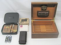 WALNUT HUMIDOR + LEATHER TRAVEL CASE + LEATHER 5 CIGAR CASE + ACCESSORIES in Plainfield, Illinois