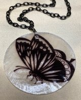 Butterfly Black on White Capiz Shell Necklace Black Chain Custom Made Lightweight in Kingwood, Texas