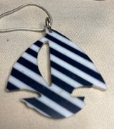 Saillboat Pendant on Silver Chain Vintage Blue White Stripes Acrylic Lightweight Large in Kingwood, Texas