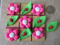Handmade polymer clay Noughts and Crosses / Tic Tac Toe.. flowers in Lakenheath, UK