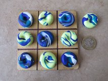 Handmade polymer clay Noughts and Crosses / Tic Tac Toe Blue & lime green in Lakenheath, UK