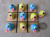 Handmade polymer clay Noughts and Crosses / Tic Tac Toe..Monsters in Lakenheath, UK