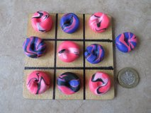 Handmade polymer clay Noughts and Crosses / Tic Tac Toe.. PINK/ PURPLE  & BLACK in Lakenheath, UK