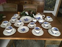 antique coffee set England roses blue white 10 pers. in Ramstein, Germany