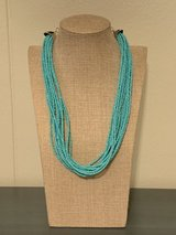 Teal Multistrand Seed Bead Necklace in Okinawa, Japan