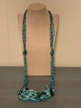 Long Multistrand Teal Seed Bead and Art Glass Necklace in Okinawa, Japan