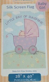 """NEW Lifes A Breeze Little Ray of Sunshine Baby Girl Silk Screen Flag 28"""" x 40"""" in Morris, Illinois"""