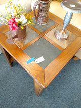 Wood End Table with Slate Tile Top in St. Charles, Illinois