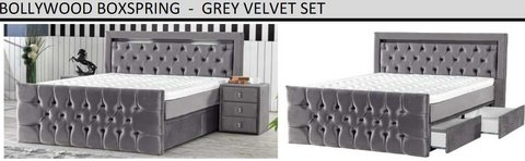 United Furniture -Queen Size (euro) Bollywood Box Springs bed with Mattress + Topper + LED & Del... in Wiesbaden, GE