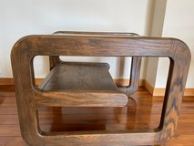 Small Wooden Side Table with Glass Top in Okinawa, Japan