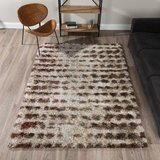 "Addison Borealis Mid-Century Modern Shag Area Rug, Ivory, 3'3""x5'1"" in Bellaire, Texas"