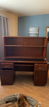 sturdy wood computer work desk removable shelves & storage cabinets in Naperville, Illinois
