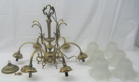 VINTAGE BRASS CHANDELIER - MADE IN SPAIN - 6 LIGHTS/ARMS - FROSTED GLASS SHADES in Naperville, Illinois
