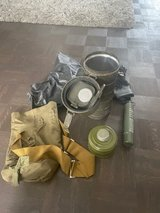 Bundeswehr NBC metal gas mask container can including 2 gas mask filter, bag and overshoes in Ramstein, Germany
