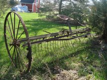 Vintage Late 1800's 7' Horse Drawn Hay Rake Heavy Steel Construction Lawn Decor in Naperville, Illinois