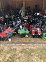 Lot of toro Honda John Deere snowblowers single and 2 stage models 20-25 machines make a offer o... in Naperville, Illinois