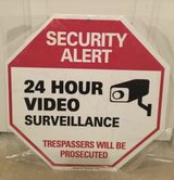 """NIP """"Security Alert 24 Hour Video Surveillance Trespassers Will Be Prosecuted"""" Reflective Sign in Camp Lejeune, North Carolina"""