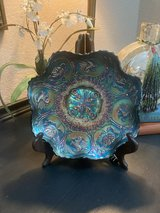 Reduced to $20 Blue Peacock Ruffled Bowl in Kingwood, Texas