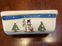 """Today's Living Stoneware 6"""" Mini Bread Loaf Baking Dish Snowman & Christmas Trees in Warner Robins, Georgia"""