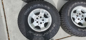 31x10.5 R15LT Tires with 30x9.5 R15LT spare. Free Lug nuts in Beaufort, South Carolina