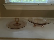 """Discounted to $10 each Pink Depression Glass Tidbit Server """"OR"""" Tulip footed bowl in Kingwood, Texas"""