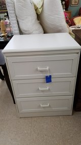 White Wicker-Look 3 Drawer Chest #2555-1 in Camp Lejeune, North Carolina