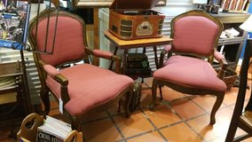 Carved Wood Chair with Red & Gold Fabric #1265-6111 in Camp Lejeune, North Carolina