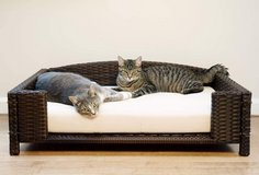 Iconic Pet Rectangular Rattan / Wicker Pet Bed - Large in Naperville, Illinois