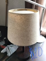 Side Table Lamp with Wood Base and Linen Cover in Okinawa, Japan
