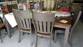 Table & 6 Chairs Stained & Gray Wood #1817-254 in Camp Lejeune, North Carolina