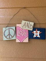 """reduced to $10 Rustic painted """"Peace, love and Astros"""" in Kingwood, Texas"""