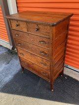 Antique Country Solid Oak Chest in Cherry Point, North Carolina