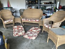 6 Piece Resin Wicker Patio Set With Cushions in Naperville, Illinois