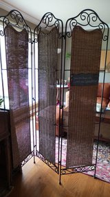 VERY NICE HEAVY BLACK WROUGHT IRON/WICKER 3-PANEL DIVIDER (real wicker) in Naperville, Illinois