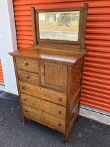 Walnut 5 Drawer Chest/Hat Box/Beveled Mirror in Cherry Point, North Carolina