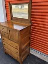 Antique Walnut 5 Drawer Chest/Hat Box/Beveled Mirror in Cherry Point, North Carolina