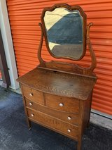 Solid Oak Vanity Washstand w/ Beveled Mirror in Cherry Point, North Carolina
