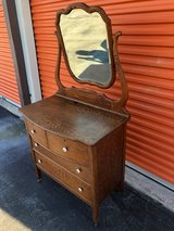 Antique Solid Oak Vanity Washstand w/ Beveled Mirror in Cherry Point, North Carolina