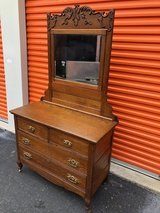 Solid Qtr Oak Dresser w/ Beveled Mirror in Cherry Point, North Carolina