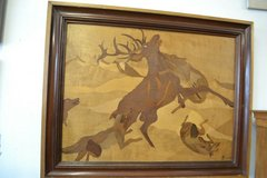 Old inlaid mural inlay * signed *  signed Wallpicture Wood Inlay Picture 102 x 81 cm in Wiesbaden, GE