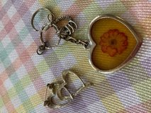 Hearts Vintage Lot 3 Necklace Key Chain Brooch Unusual Interesting Collection in Kingwood, Texas