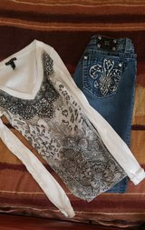 Miss Me Jeans (28) and shirt (s) in Alamogordo, New Mexico
