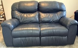 Loveseat - double reclining Blue Leather Couch in Naperville, Illinois