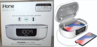 New! iHome Health PowerUVC Pro SANITIZER Bluetooth Speaker w/ Alarm Clock & Charger in Naperville, Illinois
