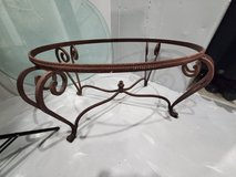 wrought iron table base and glass top in Morris, Illinois