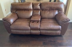 Nolan Extra Wide Leather Reclining Console Loveseat w/ Storage & Cupholder in Bellaire, Texas