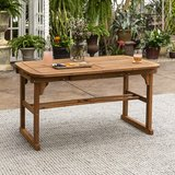 Walker Edison Maui Modern Solid Acacia Wood Slatted Patio Dining Table, 78 Inch, in Naperville, Illinois