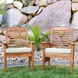 Walker Edison Rendezvous Modern 2 Piece Solid Acacia Wood Slat Back Outdoor Dining Chairs, Set o... in Naperville, Illinois