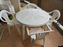 plastic outdoor table set in Okinawa, Japan