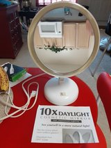 Stand-up, lighted, 10x magnifying makeup mirror in Spring, Texas
